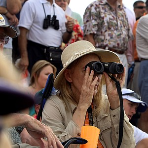Fans on the hillside at No. 9 try to catch a glimpse at Tiger Woods on Saturday at the Honda Classic.