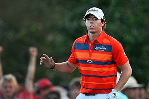 Rory McIlroy acknowledges the gallery during the third round of the Honda Classic.