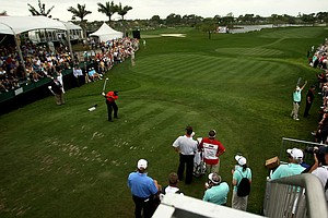 Tiger Woods hits his tee shot at No. 1 on Sunday at the Honda Classic at PGA National in Palm Beach Gardens, Fla.