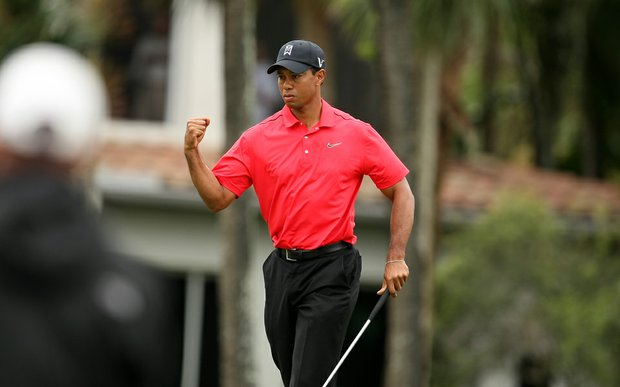 Tiger Woods birdies No. 8 on Sunday at the Honda Classic at PGA National in Palm Beach Gardens, Fla.