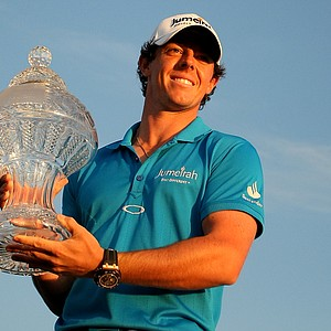 Rory McIlroy holds up the trophy on Sunday at the Honda Classic at PGA National in Palm Beach Gardens, Fla.