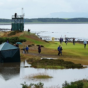 View of the 12th tee during the final round of The Barclays Scottish Open at Castle Stuart Golf Links (designed by Gil Hanse) in Inverness, Scotland.
