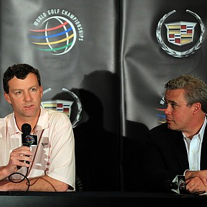 Gilbert S. Hanse (left), the founder and President of Hanse Golf Course Design, talks to the media with Ty Votaw of the the International Golf Federation after Hanse Golf Course Design had been selected to design the golf venue in Rio de Janeiro, Brazil for the 2016 Olympic games.