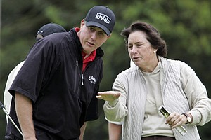 Phil Mickelson and his friend, LPGA Hall of Fame golfer Amy Alcott.