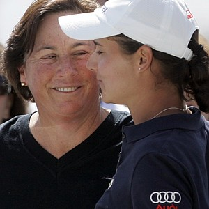 Amy Alcott, left, with Lorena Ochoa at the 2008 Kraft Nabisco Championship.