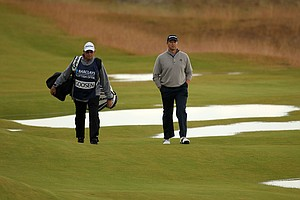 Retief Goosen during the Barclays Scottish Open at the Open Castle Stuart Golf Links Course, designed by Gil Hanse.