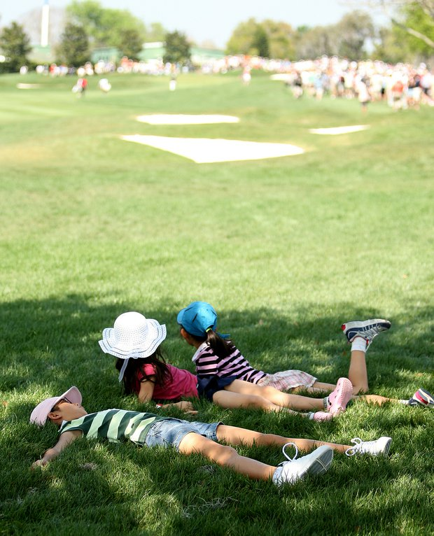 Kids watch the action during the annual Arnold Palmer Invitational at Bay Hill.