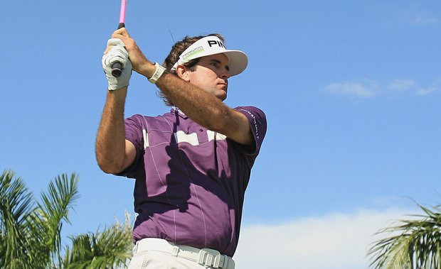 Bubba Watson watches his tee shot on the eighth hole during the third round of the WGC-Cadillac Championship.