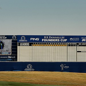 The leaderboard at No. 18 on Tuesday during a practice round of RR Donnelley LPGA Founders Cup at Wildfire at Desert Ridge.