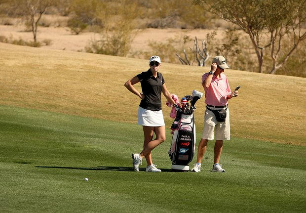 Paula Creamer with her caddie Colin Cann on Tuesday during a practice round of RR Donnelley LPGA Founders Cup at Wildfire at Desert Ridge.