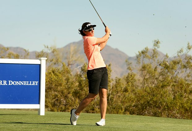 Gwladys Nocera of France made an ace during Tuesday during a practice round of RR Donnelley LPGA Founders Cup at Wildfire at Desert Ridge.