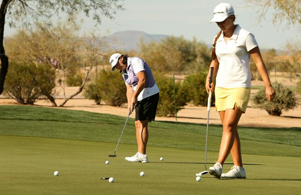 Pat Hurst, left, and Victoria Tanco, right, on Tuesday during a practice round of RR Donnelley LPGA Founders Cup at Wildfire at Desert Ridge.