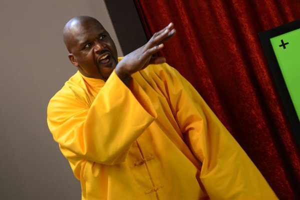 "Shaquille O'Neal takes part in a commercial shoot for EA Sports' ""Tiger Woods PGA Tour 13."""