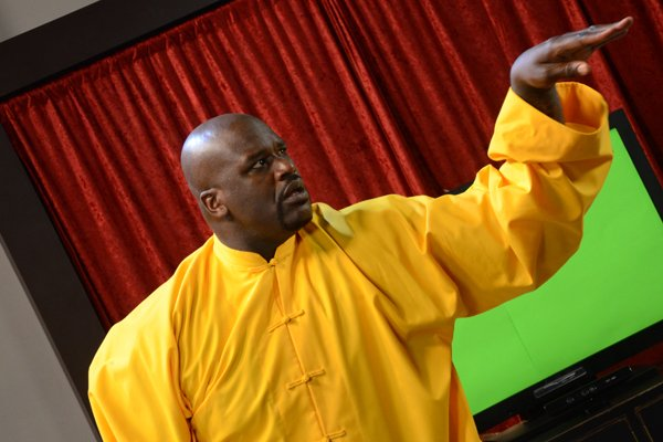 """Shaquille O'Neal takes part in a commercial shoot for EA Sports' """"Tiger Woods PGA Tour 13."""""""