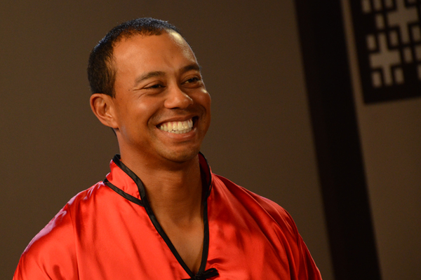 "Tiger Woods during an EA Sports commercial shoot for ""Tiger Woods PGA Tour 13."""