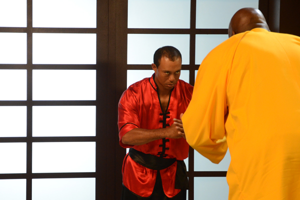 "Tiger Woods and Shaquille O'Neal during an EA Sports commercial shoot for ""Tiger Woods PGA Tour 13."""