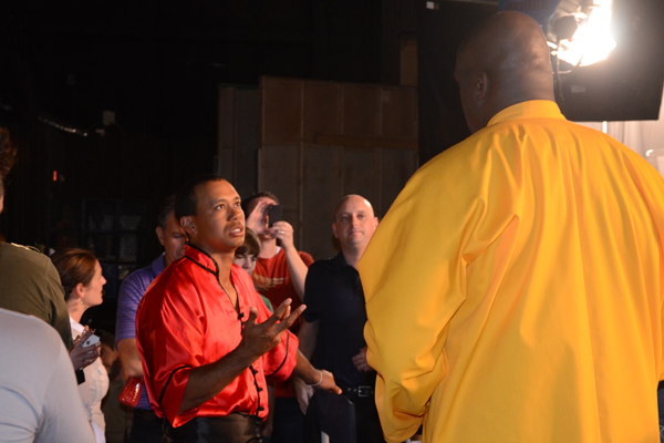 """Tiger Woods and Shaquille O'Neal converse during an EA Sports commercial shoot for """"Tiger Woods PGA Tour 13."""""""
