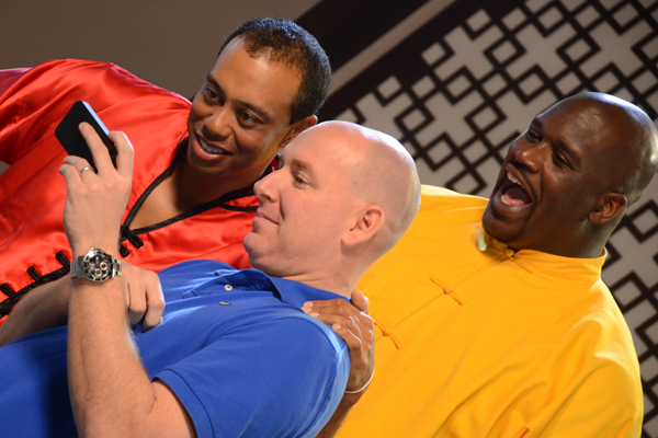 """Tiger Woods and Shaquille O'Neal during a recent commercial shoot for EA Sports' """"Tiger Woods PGA Tour 13."""""""