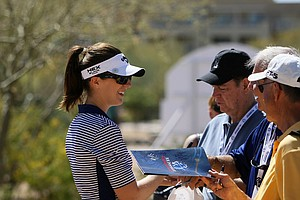 Sandra Gal signs autographs after the first round of the RR Donnelley Founders Cup.