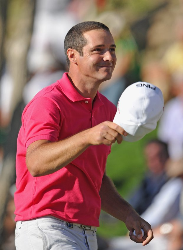 Julien Quesne of France celebrates after winning the European Tour's Andalucian Open.