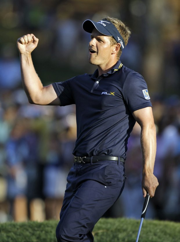 Luke Donald pumps his fist after winning the Transitions Championship on the first hole of a four-way playoff in 2012. Transitions has been replaced by EverBank as the title sponsor.