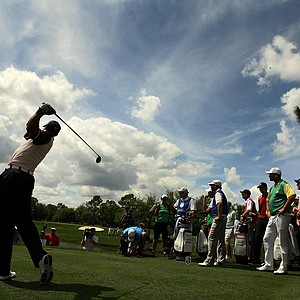 Tiger Woods hits his tee shot at No. 7 on Tuesday, March 20, during the 2012 Tavistock Cup at Lake Nona Golf and Country Club. Woods is part of Team Albany.