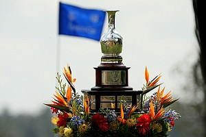 The Tavistock Cup sits on the 18th green on Tuesday during the 2012 Tavistock Cup at Lake Nona Golf and Country Club.
