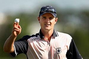 Justin Rose acknowledges the crowd at No. 18 on Tuesday during the Tavistock Cup.