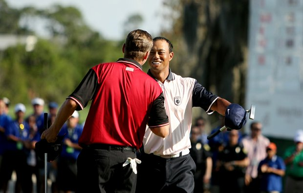 Tiger Woods and Sean O'Hair after their round on Tuesday during the Tavistock Cup.