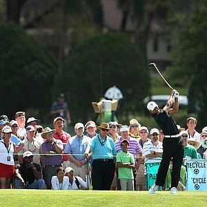 Tiger Woods hits his shot at No. 6 during the first round.