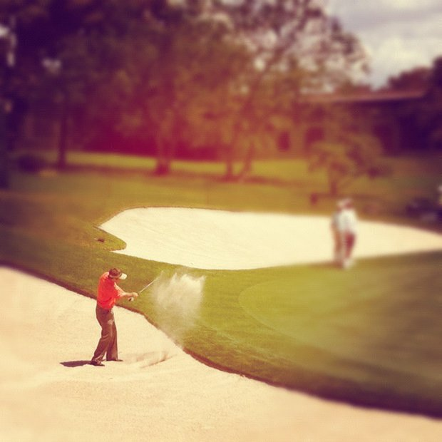 An Instagram photo of Mark Wilson hits from a greenside bunker at No. 18 during the first round.