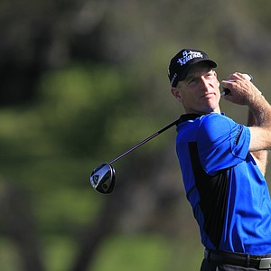 Jim Furyk hits a shot on the 16th tee during the second round of the Arnold Palmer Invitational.