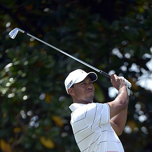 Tiger Woods hits a shot from the second tee during the second round of the Arnold Palmer Invitational.