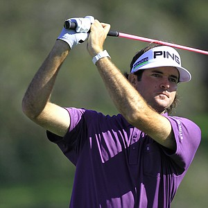 Bubba Watson watches his shot from the 16th tee during the second round of the Arnold Palmer Invitational.