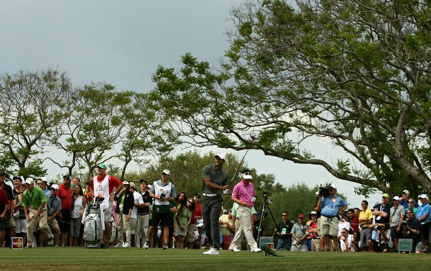 Tiger Woods watches his tee shot at No. 9 during the third round of the Arnold Palmer Invitational.