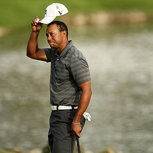 Tiger Woods at No. 18 during the third round of the Arnold Palmer Invitational.