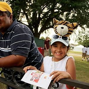 Rebecca Guadarrama, 9, of Oviedo, Fla., shows her Tiger support during the third round.