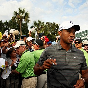 Tiger Woods leaves the autograph area afte the third round.