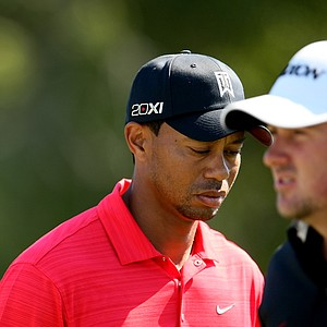 Tiger Woods and Graeme McDowell at No. 7 tee during the the final round.