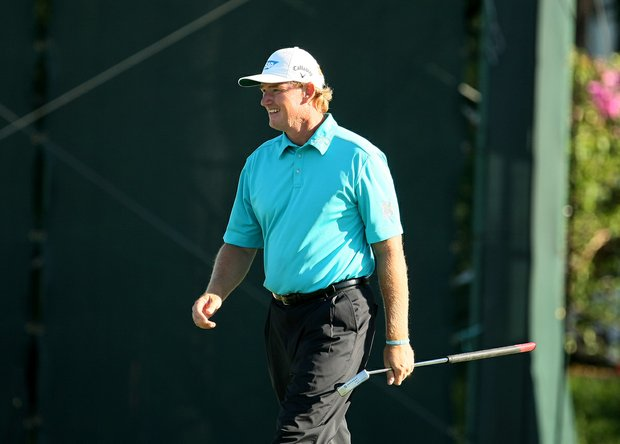 Ernie Els of No. 16 during the the final round of the Arnold Palmer Invitational.