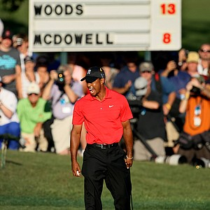 Tiger Woods lets out a roar after winning the 2012 Arnold Palmer Invitational by five shots at Bay Hill.