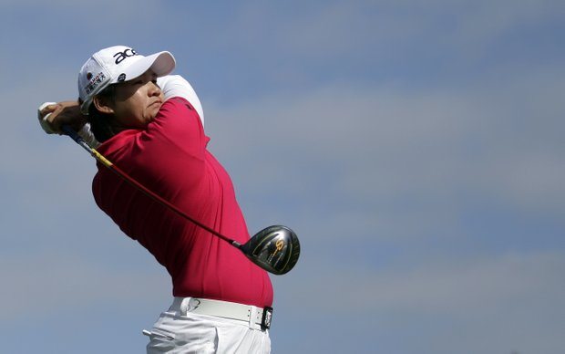 Yani Tseng hits her tee shot on the third hole during the final round of the Kia Classic.