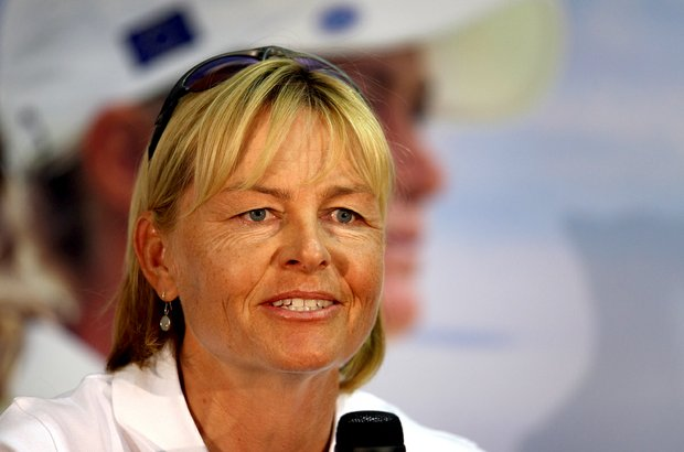Rancho Mirage, CA--03/28/12--Liselotte Neumann has been named captain of the 2013 Solheim Cup at a press conference on Wednesday at the Kraft Nabisco Championship.--(Photo by Tracy Wilcox/GOLFWEEK)