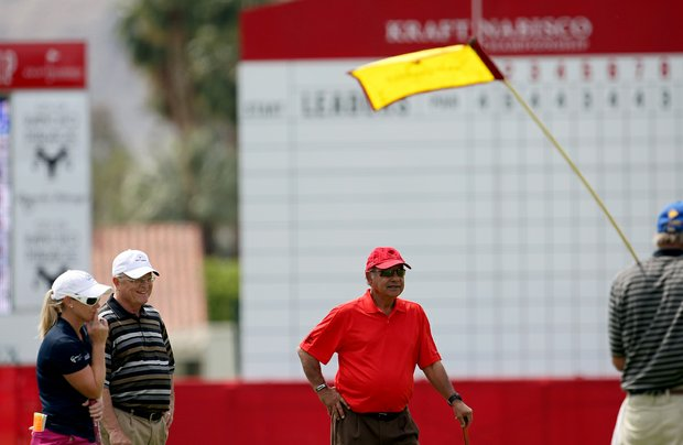 Kristy McPherson, left, played Wednesday's pro-am with actor Cheech Marin at the Kraft Nabisco Championship.