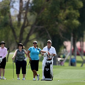 Christina Kim, center, with her pro-am group on Wednesday at the Kraft Nabisco Championship.