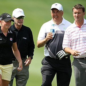 Stacy Lewis walks with her pro-am group on Wednesday at the Kraft Nabisco Championship.