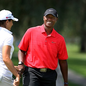 Musician Javier Colon was paired with Paige McKenzie on Wednesday during a pro-am at the Kraft Nabisco Championship.