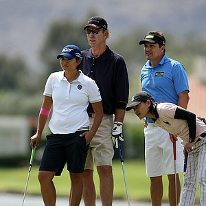 Yani Tseng with comedien/stuntman Super Dave Obsborne, behind, and playing partners Dominic Nappi and Shannon Ng on Wednesday at the Kraft Nabisco Championship.