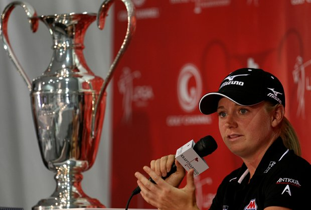 Defending Champion Stacy Lewis on Wednesday at the Kraft Nabisco Championship.