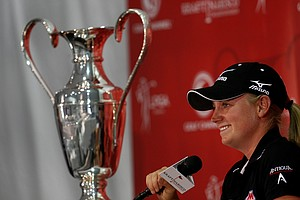 Defending champion Stacy Lewis talks about her partnership with KPMG LLP, an audit, tax and advisory firm on Wednesday at the Kraft Nabisco Championship.